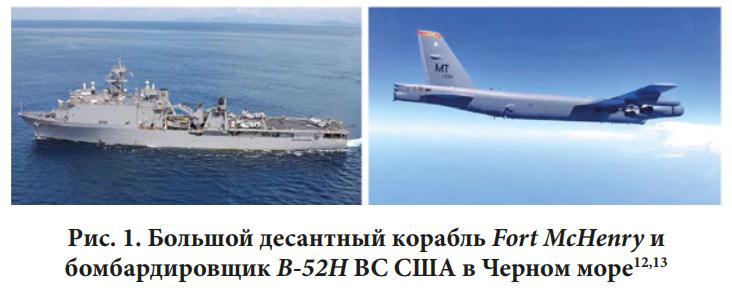 Большой десантный корабль и бомбардировщик (США) в Чёрном море